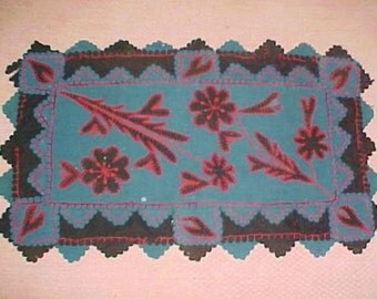 Antique Crib Quilt, PA Amish Wool Felt Applique , Blue, Red and Black, Hearts