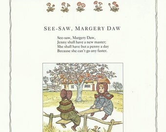 See Saw Margery Daw Kate Greenaway Childrens Colour Print 1991 Wall Art Nursery Art Kids Art Wall Art Nursery Decor