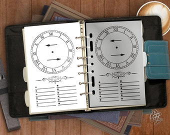 Timely Bullet Journal Clock & Planner Stencil -- A5/Half-Letter Sized Binders