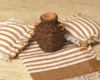 Miniature Wicker Clay Jug for Your Dollhouse