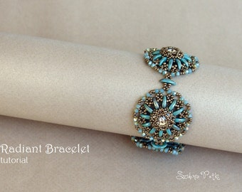Crescent Beads and 12mm Rivolis Bracelet Tutorial - Radiant Bracelet - Beading Pattern by Sidonia