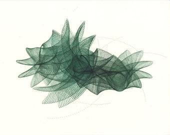 Original Ink Drawing Green Fairy Modern Art Green Abstract Art Abstract Geometric Art, Swirls, Spirals, Motion, Parametric Drawing,  11 x 14