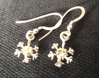 Petite Snowflake Sterling Silver Dangling Earrings
