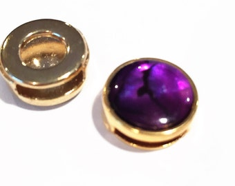 1 Gold, Purple Paua Shell 10mm Flat Leather cord slider, bracelet finding, jewelry supplies