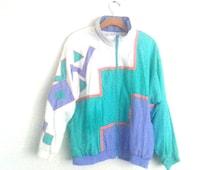Rad Vintage 80s 90s Track Suit Asymmetrical Color Block Windbreaker Jacket Medium