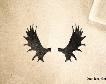 Moose Antlers Rubber Stamp - 2 x 2 inches