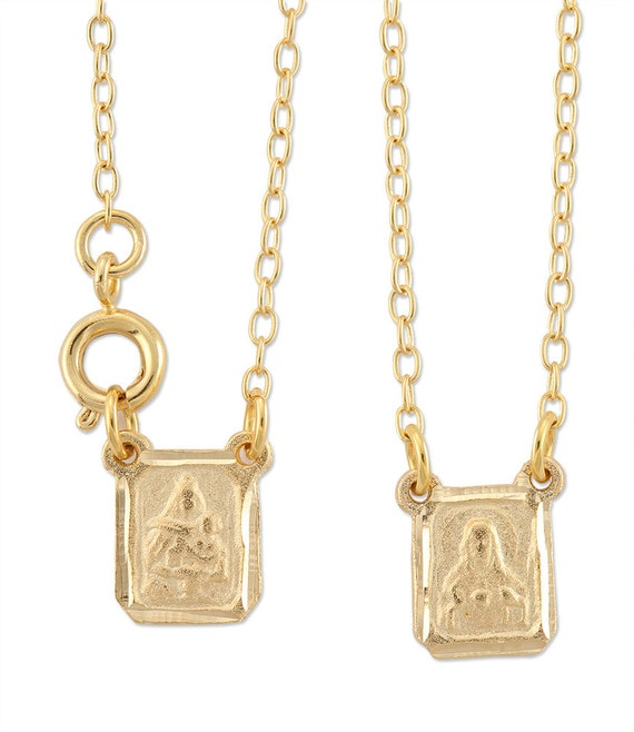 Gold Scapular Necklace: Gold Plated Small Rectangular Scapular Religious Jewelry