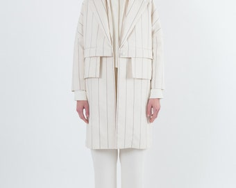 Trench-Coat #1 White Striped