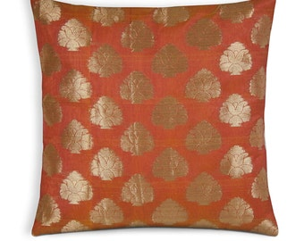 Silk Cushion Cover - Orange and Gold Chanderi Silk Pillow Cover - 12x12 Inch Square Pillow Cover - Indian Wedding Decoration