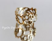 """Statement Ring: Organic Lace Ring """"Jukai"""" Made to Order -Size 4.5 in Sterling Silver, Brass, 14k Solid Gold"""