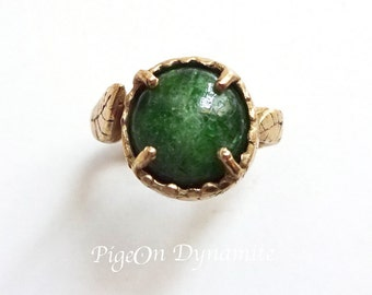 """Leaf&Chrome Diopside """"Forest"""" Ring-Ready to Ship Ring size 5/Chrome Diopside Ring/Green Forest Ring in Brass"""