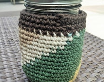 Crochet Mason Jar Cozy - Pint Sized Jar Cover - Cotton - Fall Colors - Party Favor Idea - Machine Washable - READY TO SHIP