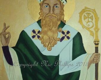 St Patrick - original artwork - icon on wood