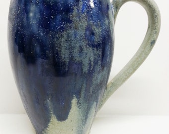 Antique Charles Greber Flambe Stein, Pottery Mug, Art Nouveau French Ceramic Blue Drip Cup