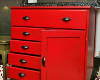 Vintage Refinished Red Dresser