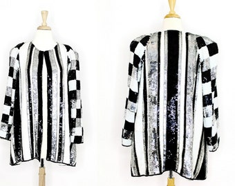 80's Vintage Sequin Jacket / Silver Black White Laurence Kazar