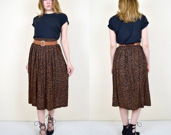 1980's LEOPARD Print Pleated MIDI Skirt