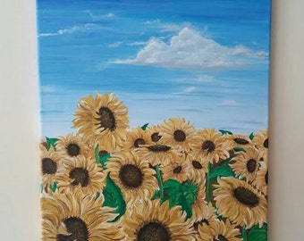 Field of Sunflowers Acrylic on Canvas 16inx20in