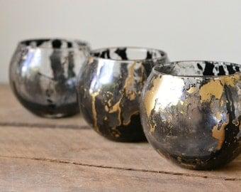 Black & Gold Marbled Glass Tealight Candle Holder Votive Candle Wedding Decor