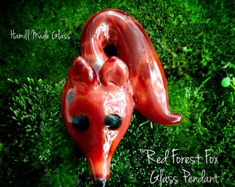 Red Forest Fox Pendant Or Necklace; Glass Pendant; Forest Creature; Woodland; Handblown Pendant; Fox Jewelry; Fox Gift