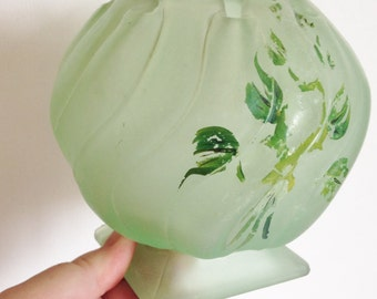 Another Large Bagley posy vase Equinox frosted green art deco vintage glass vase