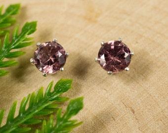 Pink Zircon Sterling Silver Earrings