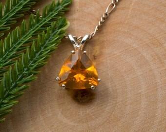 Fire Opal Sterling Silver Pendant