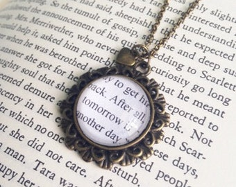 Gone with the Wind Scarlett O' Hara Rhett Butler Margaret Mitchell Book Page Literature Necklace