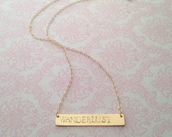 Hand Stamped Wanderlust 14k Gold Filled Bar Necklace 14k Gold Filled Bar Necklace // Bridesmaids Gifts // Gifts for Her