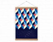 2016 wall calendar - Squares Calendar 2016 - abstract pattern calendar A3 or A3+