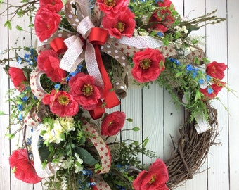 Large summer wreath, Summer wreaths for font door., Americana Wreath,Spring wreaths for sale,Fourth of July Wreath, USA Wreath,Summer Wreath