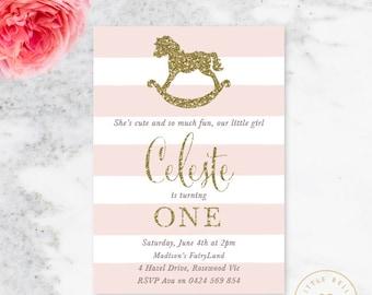 Rocking Horse Birthday Invitation / Girl First Birthday Invitation / Printable Birthday Invite / Pink