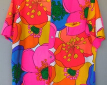 Men's Vintage 1960's Psychedelic Neon Flower Power Button Down Oxford Hawaiian Shirt by Malihini - size Medium Large