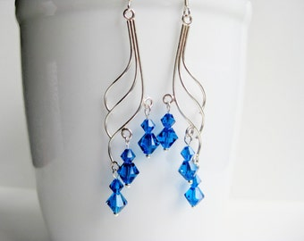Electric blue chandelier earrings, Swarovski crystal, sterling silver, cobalt earrings UK, royal blue, dangle ear ring
