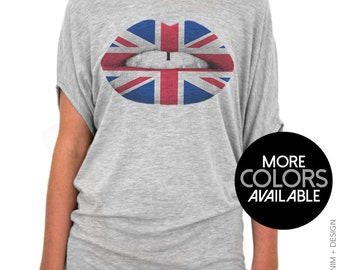 British Flag Lipstick - Off the Shoulder Slouchy Tee - UK London Lipstick - Union Jack - Red White and Blue - Gray / White Shirts Available