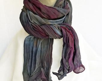 "Grey crinkle scarf - silk chiffon scarf - grey, blue, burgundy, rust, taupe - crinkle chiffon - fall - hand dyed - large - 17"" x 74"" OOAK"