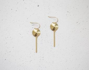 Geometric Circle Brass Pendulum Earrings
