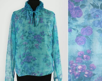 1970s Sheer Frilled Floral Chiffon Blouse