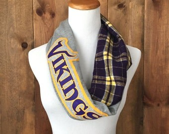 Minnesota Vikings Football Upcycled Infinity T-Shirt Scarf