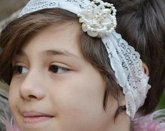 White headbands, white lace headband, flower headbands, bows for little girl, baby girl gift, adult headband, baby shower gift, pearl turban