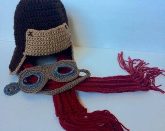 Crochet Aviator Bomber Hat with Goggles (Scarf Option)