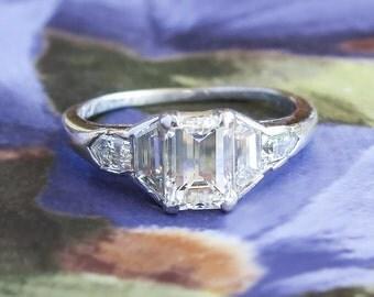 Vintage Art Deco 1930's 1.50ct t.w. Emerald Cut Diamond Engagement Wedding Ring Platinum
