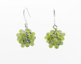 Beaded Earrings, Beaded Bead Earrings, Seed Bead Earrings, Fringe Bead Earrings, Green Earrings, Iridescent Earrings, Bubbly Earrings