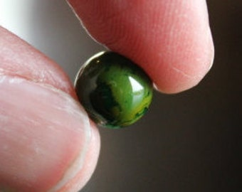 50 round,  green with light brown, glass beads, baking painted, 8 mm, 0.8 mm hole, glossy beads