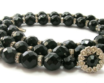 Jet Black Vintage Crystal Necklace with Rhinestones and Fancy Clasp - 1950s