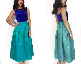 Vintage  50s 60s Blue Velvet Green Floral Brocade Maxi Dress Gown Glam Holiday