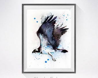 Osprey watercolor painting print, Osprey art, bird watercolor, Osprey painting, bird art, bird print, animal art,