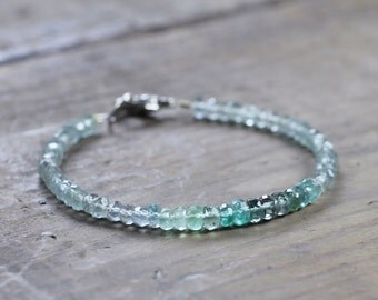 Moss Aquamarine, Tourmaline & Emerald Bracelet, Ombre Grey Green Gemstone Beaded Bracelet, Sterling Silver or Gold Filled Multi Gemstone