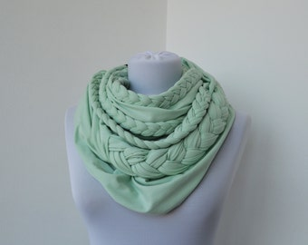 Mint Loop Scarf Infinity Jersey Scarf Partially braided Circle Scarf Scarf Nekclace