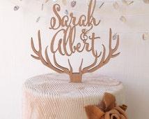 Wedding cake topper, personalized deer antler cake topper, rustic wedding cake topper, wooden antlers cake topper, custom cake topper